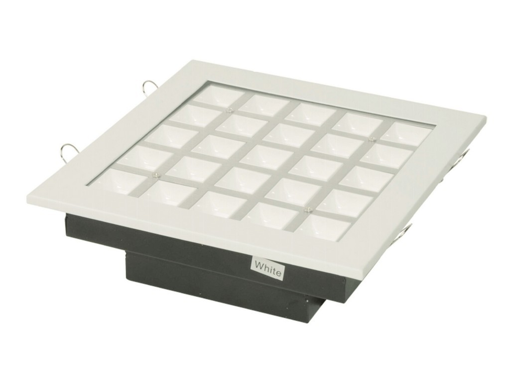 DOWNLIGHT LED EMPOTRABLE PROFESIONAL CUADRADO PF>0,9 CORTE 190x190MM 25W 3000K 60º 230V