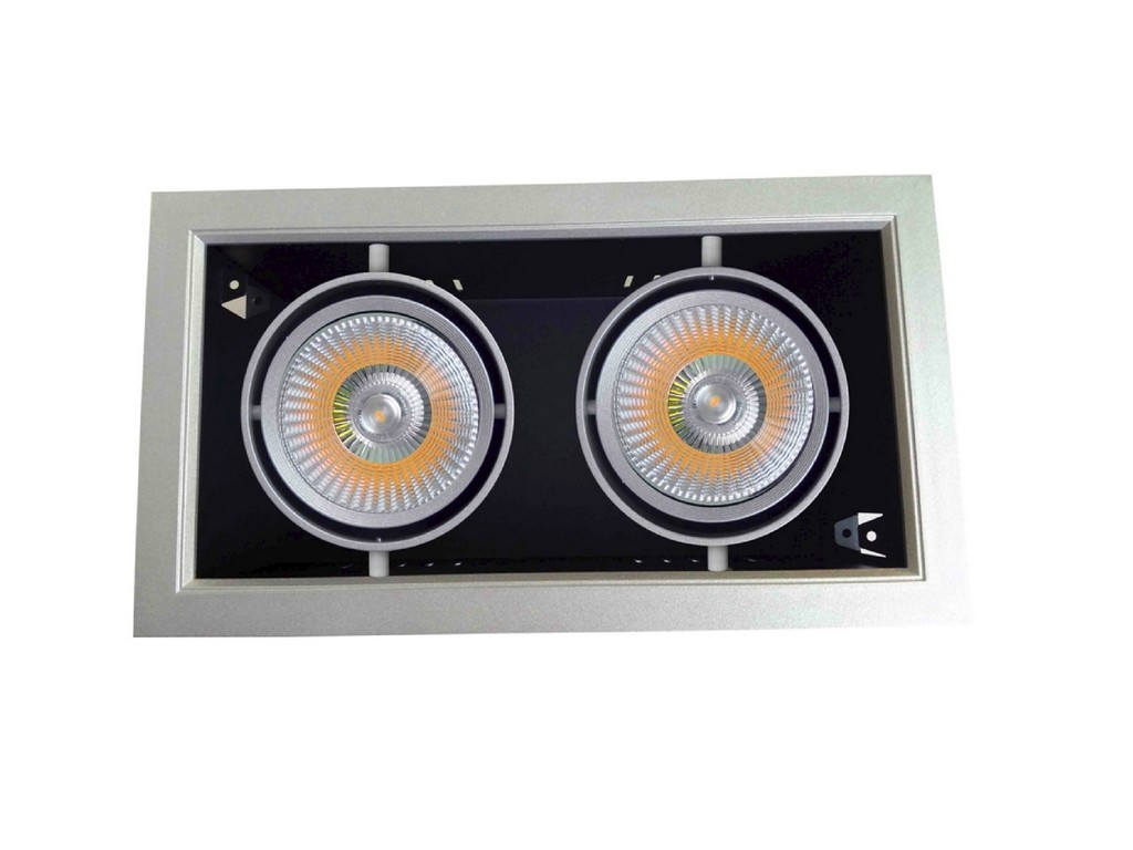 DOWNLIGHT LED EMPOTRABLE ORIENTABLE AR111 PF>0,9 CORTE 330x180MM 60W 3000K 24º 230V INOXIDABLE