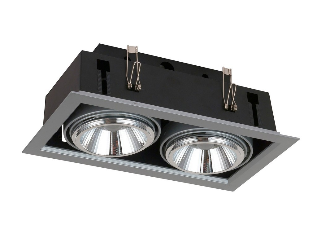 DOWNLIGHT EMPOTRABLE ORIENTABLE 2XAR111 LED 40W 3000K 24º 230V INOX